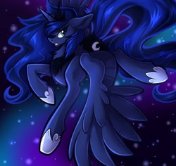 Size: 3700x3488 | Tagged: safe, artist:frivomutt, princess luna (mlp), alicorn, equine, fictional species, mammal, pony, feral, friendship is magic, hasbro, my little pony, 2021, blue hair, blue mane, blue tail, crown, feathered wings, feathers, female, flying, frowning, hair, high res, hoof shoes, horn, jewelry, mane, mare, peytral, regalia, solo, solo female, spread wings, tail, wings
