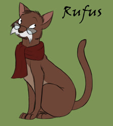 Size: 602x672 | Tagged: safe, artist:kumkrum, cat, feline, mammal, feral, disney, the rescuers, clothes, glasses, green background, looking at you, moustache, rufus (the rescuers), scarf, simple background, sitting