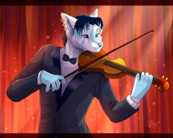 Size: 900x718 | Tagged: safe, artist:ketty, oc, oc only, canine, fox, mammal, 2016, blue eyes, bow, bow tie, clothes, ear piercing, earring, eyebrows, hair, male, multicolored hair, piercing, solo, solo male, suit, two toned hair, violin