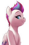 Size: 1920x2958 | Tagged: safe, artist:maren, zipp storm (mlp), equine, fictional species, mammal, pegasus, pony, hasbro, my little pony, my little pony g5, spoiler:my little pony g5, bust, female, folded wings, g5, gritted teeth, high res, looking at you, looking down, looking sideways, mare, portrait, simple background, smiling, solo, teeth, white background, wings