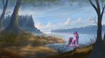 Size: 1920x1080 | Tagged: safe, artist:shamanguli, twilight sparkle (mlp), equine, fictional species, mammal, pony, unicorn, feral, friendship is magic, hasbro, my little pony, 2016, cloud, female, forest, grass, horn, looking back, plant, scenery, scenery porn, sky, solo, solo female, tail, tree, water