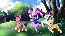 Size: 8000x4500 | Tagged: safe, artist:faline-art, hitch trailblazer (mlp), izzy moonbow (mlp), pipp petals (mlp), sunny starscout (mlp), zipp storm (mlp), earth pony, equine, fictional species, mammal, pegasus, pony, unicorn, hasbro, my little pony, my little pony g5, spoiler, spoiler:my little pony g5, 2021, absurd file size, absurd resolution, ball, coat markings, female, flying, g5, grin, hooves, izzy's tennis ball, looking at each other, male, mane five (g5), mare, open mouth, plant, quintet, running, smiling, socks (coat markings), stallion, tennis ball, tree, unshorn fetlocks