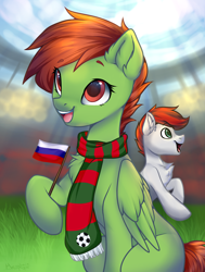 Size: 1648x2175 | Tagged: safe, artist:megabait, oc, oc only, equine, mammal, pony, feral, friendship is magic, hasbro, my little pony, clothes, flag, football, football ball, football game, inktober, inktober2021, inktoberday7, russia, scarf, stadium