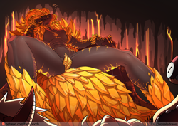 Size: 1200x848 | Tagged: suggestive, artist:chrysalisdraws, fictional species, kulve taroth, monster, reptile, anthro, monster hunter, belly button, breasts, dialogue, female, horns, licking, licking lips, sitting, solo, solo female, spread legs, talking, throne, tongue, tongue out