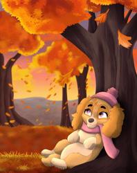 Size: 3400x4300 | Tagged: safe, artist:xxgato, skye (paw patrol), canine, cockapoo, dog, mammal, feral, nickelodeon, paw patrol, 2021, autumn, beanie, black nose, clothes, commission, digital art, ears, eyelashes, female, fur, hair, paws, plant, scarf, solo, solo female, tail, tree