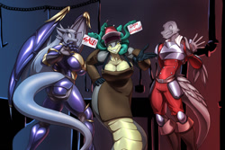 Size: 1280x853 | Tagged: suggestive, artist:toughset, dragon, fictional species, snake, anthro, naga, 2021, apron, armor, big breasts, breasts, cleavage, clothes, dragoness, female, group, looking at you, looking back, male, petrification, smiling, smiling at you, snake hair, webbed wings, wings