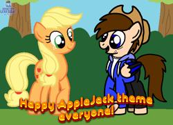 Size: 2000x1446 | Tagged: safe, artist:mleonheart, applejack (mlp), oc, oc only, oc:seb the pony, earth pony, equine, fictional species, mammal, pegasus, pony, friendship is magic, hasbro, my little pony, applejack's hat, base used, duo, female, happy applejack day, male, mare, stallion