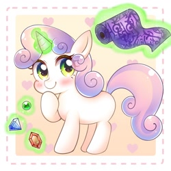 Size: 1100x1100 | Tagged: safe, artist:yukiha_321, sweetie belle (mlp), equine, fictional species, mammal, pony, unicorn, friendship is magic, hasbro, my little pony, solo