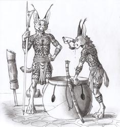 Size: 1268x1350 | Tagged: safe, artist:0laffson, caracal, feline, mammal, anthro, cauldron, male, monochrome, spear, traditional art, weapon