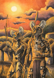 Size: 846x1200 | Tagged: safe, artist:0laffson, african wild dog, canine, mammal, anthro, bow and arrow, clothes, loincloth, male, sun, traditional art