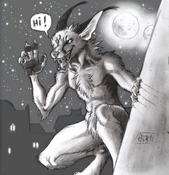 Size: 1258x1300 | Tagged: safe, artist:0laffson, oc, oc:shadi (0laffson), canine, caracal, feline, fictional species, mammal, werewolf, anthro, monochrome, moon, solo, traditional art