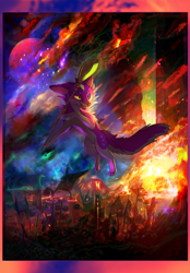 Size: 1506x2160 | Tagged: invalid tag, safe, artist:inafox, oc, canine, dragon, fictional species, fox, mammal, feral, animal, animals, anthral, apocalyptic, artist, artwork, canines, colorful, digital art, energy, eruption, explosive, foxes, fursona, lava, lgbtq, magic, purple, rainbow, semianthro, sorcery, spoon, vibrant, volcano, witch, wizard