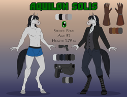 Size: 1200x914 | Tagged: safe, artist:sunny way, oc, oc only, oc:aquilon solis, equine, horse, mammal, anthro, artwork, clothes, digital art, equi, equis universe, gun, handgun, hooves, male, nudity, pistol, reference, reference sheet, solo, stallion, underwear, weapon