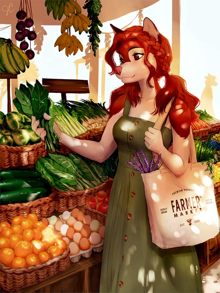 Size: 1087x1447 | Tagged: safe, artist:jennyfur, oc, oc only, canine, dog, mammal, anthro, bag, braid, carnivore confusion, clothes, dress, featured image, female, food, fur, hair, holding, holding object, market, multicolored fur, outdoors, pigtails, pink nose, red body, red eyes, red fur, red hair, shopping, shopping bag, smiling, solo, solo female, two toned body, two toned fur, white body, white fur