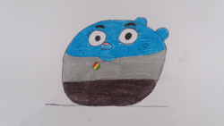 Size: 1280x720 | Tagged: safe, artist:95damian, nicole watterson (tawog), cat, feline, mammal, cartoon network, the amazing world of gumball, ball, female, morph ball, solo, solo female, traditional art, transformation
