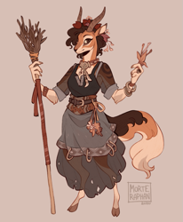 Size: 659x800 | Tagged: safe, artist:morteraphan, bovid, gazelle, mammal, anthro, clothes, dress, female, horns, solo, solo female, staff, tail