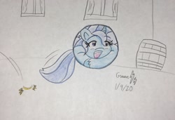 Size: 2250x1537 | Tagged: safe, artist:gmangamer25, trixie (mlp), equine, fictional species, mammal, pony, unicorn, feral, friendship is magic, hasbro, my little pony, 2020, ball, bouncing, cute, female, happy, mare, morph ball, solo, solo female, tail, traditional art, transformation
