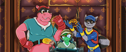 Size: 3250x1334 | Tagged: safe, artist:solarellipse, sly cooper (sly cooper), hippopotamus, mammal, procyonid, raccoon, reptile, turtle, anthro, sly cooper (series), bentley (sly cooper), group, male, murray (sly cooper), trio