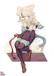 Size: 1240x1754   Tagged: safe, artist:aruurara, oc, oc only, cat, feline, mammal, bottomwear, braid, clothes, cute, eyes closed, female, knee-high socks, ribbon, shirt, shoes, skirt, socks, solo, solo female, topwear