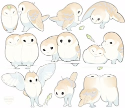 Size: 2048x1758   Tagged: safe, artist:hiyoratory, amphibian, barn owl, bird, bird of prey, frog, owl, feral, ambiguous gender, ambiguous only, black eyes, brown body, cute, feathered wings, feathers, jumping, simple background, white background, white body, wings