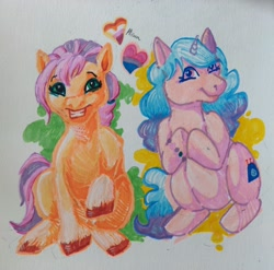 Size: 3498x3456 | Tagged: safe, artist:n07332719, izzy moonbow (mlp), sunny starscout (mlp), earth pony, equine, fictional species, mammal, pony, unicorn, feral, hasbro, my little pony, my little pony g5, spoiler:my little pony g5, 2021, bracelet, coat markings, duo, duo female, female, females only, gradient mane, gradient tail, high res, hooves, jewelry, mare, sitting, smiling, socks (leg marking), speculation, tail, traditional art, unshorn fetlocks