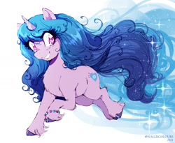 Size: 1720x1410 | Tagged: safe, artist:walliscolours, izzy moonbow (mlp), equine, fictional species, mammal, pony, unicorn, feral, hasbro, my little pony, my little pony g5, spoiler:my little pony g5, 2021, bracelet, chest fluff, ear fluff, female, fluff, gradient mane, gradient tail, hooves, jewelry, mare, smiling, solo, solo female, sparkly mane, speculation, tail, unshorn fetlocks