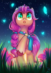 Size: 1600x2264 | Tagged: safe, artist:musicfirewind, sunny starscout (mlp), arthropod, butterfly, earth pony, equine, fictional species, insect, mammal, pony, feral, hasbro, my little pony, my little pony g5, spoiler, spoiler:my little pony g5, 2021, bag, female, grass, hooves, looking up, mare, night, raised hoof, reflection, sky, solo, solo female, speculation, stars, tail, unshorn fetlocks, wide eyes