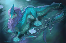 Size: 1000x651   Tagged: safe, artist:sixthleafclover, sisu (raya and the last dragon), dragon, eastern dragon, fictional species, feral, disney, raya and the last dragon, dragoness, female, flower, front view, hair, high angle, long tail, partially submerged, pink eyes, purple hair, reptile feet, solo, solo female, standing, striped body, tail, teal body, three-quarter view, water