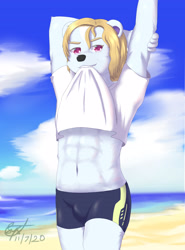 Size: 3012x4075 | Tagged: suggestive, artist:syst, oc, oc:syst, bear, mammal, polar bear, anthro, abs, beach, biting, blonde hair, blue body, blue fur, bottomwear, clothes, clothing lift, fur, hair, looking at you, male, muscles, pants, red eyes, solo, standing, swimsuit