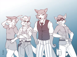 Size: 1280x960 | Tagged: safe, artist:heresyart, fox mccloud (star fox), legoshi (beastars), robin hood (robin hood), sly cooper (sly cooper), canine, fox, mammal, procyonid, raccoon, wolf, anthro, beastars, disney, nintendo, robin hood (disney), sly cooper (series), star fox, 2021, abstract background, belt, bottomwear, cheek fluff, clothes, crossed arms, crossover, ear fluff, eyebrows, eyelashes, fluff, gloves, group, hand on hip, hat, jacket, looking at you, male, males only, monochrome, necktie, pants, topwear, vest