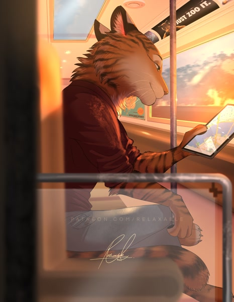 Size: 1590x2048 | Tagged: safe, artist:relaxableart, big cat, feline, mammal, tiger, disney, zootopia, 2021, barefoot, bottomwear, cheek fluff, clothes, cream body, cream fur, digital art, featured image, fluff, fur, hand hold, holding, indoors, looking at something, male, neck fluff, orange body, orange fur, pants, paws, public transport, shirt, side view, signature, sitting, solo, solo male, striped fur, tablet, topwear, train, whiskers