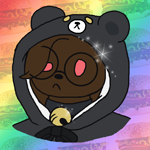 Size: 500x500 | Tagged: safe, artist:cuddlygrizzly, oc, oc:cuddle the grizzly, bear, mammal, anthro, bell, bow, brown body, brown fur, bust, choker, clothes, cute, female, fur, glasses, gradient background, hamburger, head, kawaii, magenta eyes, mascot, pajamas, pink eyes, rainbow, ribbon, solo, solo female, sparkles, yellow eyes