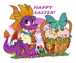 Size: 900x756   Tagged: safe, artist:taylortrap622, spyro the dragon (spyro), dragon, fictional species, feral, spyro the dragon (series), 3021, basket, bow, easter, egg, male, purple body, solo, solo male