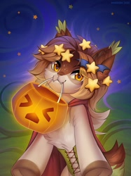 Size: 899x1200   Tagged: safe, artist:margony, oc, oc only, cat, equine, feline, hybrid, mammal, pony, feral, female, halloween, holding, holiday, jack-o-lantern, looking at you, mouth hold, pumpkin, smiling, solo, solo female, star