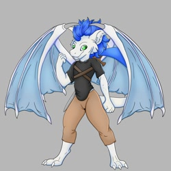 Size: 1500x1500   Tagged: safe, artist:splashofsweet, oc, oc only, dragon, fictional species, anthro, digitigrade anthro, bottomwear, clothes, fangs, green eyes, looking at you, male, pants, sharp teeth, shirt, smiling, solo, solo male, spread wings, sword, teeth, topwear, weapon, wings