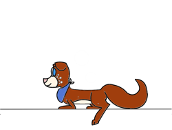 Size: 1152x864   Tagged: safe, artist:moonlightwolfpup, oc, oc only, oc:rusty (wer48), canine, dog, mammal, feral, bandanna, clothes, colored pupils, female, fluff, fur, paws, simple background, solo, solo female, tail, transparent background