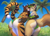 Size: 1487x1080 | Tagged: suggestive, artist:poof-poof, oc, oc only, oc:alexthecatte, big cat, feline, mammal, saber-toothed cat, tiger, anthro, beach, bent over, bikini, black body, black fur, brown body, brown fur, brown hair, butt, clothes, duo, fangs, female, females only, from below, fur, green eyes, green hair, hair, hand on butt, looking at you, looking back, multicolored fur, multicolored hair, offscreen character, one eye closed, orange body, orange fur, outdoors, pov, raised tail, sabertooth (anatomy), seductive, seductive pose, sharp teeth, smiling, striped fur, swimsuit, tail, teeth, thong swimsuit, white body, white fur
