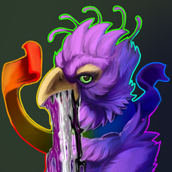 Size: 1200x1200   Tagged: safe, artist:fishyboner, oc, oc:gyro feather, oc:gyro feather (bird), bird, galliform, peafowl, anthro, ace, asexual pride flag, beak, bird feet, bird hands, claws, feathered wings, feathers, flag, green eyes, male, pink body, pride flag, purple body, saliva, tail, wings, yellow body