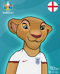 Size: 900x1113   Tagged: safe, artist:copy1234v2, nala (the lion king), big cat, feline, lion, mammal, disney, the lion king, england, euro 2020, football
