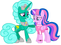 Size: 1440x1080   Tagged: safe, alternate version, artist:ejlightning007arts, artist:徐詩珮, glitter drops (mlp), oc, oc:hsu amity, alicorn, equine, fictional species, mammal, pony, feral, friendship is magic, hasbro, my little pony, alicornified, alternate timeline, alternate universe, clothes, duo, female, glasses, glowing wings, group, hoof on chest, hooves, horn, mare, not twilight sparkle, oc and canon, princess glitter drops, race swap, shirt, simple background, smiling, topwear, transparent background, vector, watch, wings