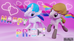 Size: 3840x2160   Tagged: safe, artist:deedeeteearts, oc, oc only, oc:logic puzzle, oc:supersaw, earth pony, equine, fictional species, mammal, pony, unicorn, feral, hasbro, my little pony, 3d, aromantic pride flag, asexual pride flag, bisexual pride flag, blender, couple, demisexual pride flag, duo, flag, genderfluid pride flag, heart, intersex pride flag, lesbian pride flag, male, nonbinary pride flag, pansexual pride flag, pride flag, running, simple background, transgender pride flag