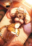 Size: 752x1062 | Tagged: character needed, safe, artist:azuza___, big cat, feline, mammal, tiger, anthro, bed, big breasts, bra, breasts, cell phone, clothes, fan, fangs, female, panties, phone, sharp teeth, solo, solo female, stretching, tail, teeth, underwear, waking up, yawning