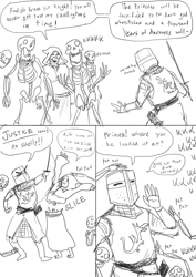 Size: 700x990 | Tagged: dead source, safe, artist:guoh, oc, oc:brave sir knight (guoh), fictional species, human, mammal, undead, bone, clothes, comic, death, dialogue, dungeon, grayscale, helmet, holding object, knight, male, monochrome, necromancer, robe, skeleton, smiling, speech bubble, sword, talking, weapon