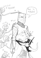 Size: 700x990 | Tagged: dead source, safe, artist:guoh, oc, oc:brave sir knight (guoh), fictional species, human, kobold, mammal, reptile, undead, clothes, comic, dialogue, female, grayscale, heart, helmet, horn piercing, horns, hug, in love, infatuation, knight, lidded eyes, loincloth, looking up, love heart, male, monochrome, patting, piercing, princess, simple background, size difference, smiling, speech bubble, sword, tail, talking, toe claws, topwear, weapon, white background