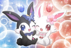 Size: 680x462 | Tagged: safe, luea (jewelpet), ruby (jewelpet), semi-anthro, jewelpet (sanrio), sanrio, duo, duo female, ears, female, females only, flower, flower in hair, hair, hair accessory, tail