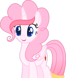 Size: 618x727 | Tagged: safe, artist:muhammad yunus, oc, oc only, oc:strawberries, alicorn, equine, fictional species, mammal, pony, feral, friendship is magic, hasbro, my little pony, blue eyes, female, hair, mane, mare, medibang paint, open mouth, open smile, pink hair, pink mane, red hair, simple background, smiling, solo, solo female, transparent background, vector