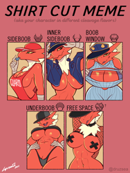 Size: 3050x4050 | Tagged: suggestive, artist:lyorenth-the-dragon, oc, oc only, oc:hanako (lyorenth-the-dragon), bird, blaziken, fictional species, anthro, nintendo, pokémon, abs, belly button, belly button piercing, big breasts, boob window, breasts, cap, cleavage, clothes, colored sclera, female, fluff, green eyes, hat, looking at you, low angle, muscles, nipple tape, panties, piercing, pubic fluff, red body, shirt cut meme, sideboob, solo, solo female, thong, underboob, yellow sclera