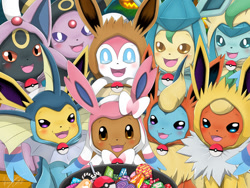 Size: 800x600   Tagged: safe, artist:winick-lim, eevee, eeveelution, espeon, fictional species, flareon, glaceon, jolteon, leafeon, mammal, sylveon, umbreon, vaporeon, feral, nintendo, pokémon, 2016, blushing, bowl, candy, claws, clothes, collar, costume, cute, dialogue, digital art, female, food, group, halloween, halloween costume, holiday, looking at you, male, open mouth, open smile, sack, smiling, speech bubble, talking, text, tongue