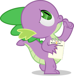 Size: 1733x1779 | Tagged: safe, artist:thatusualguy06, spike (mlp), dragon, fictional species, semi-anthro, friendship is magic, hasbro, my little pony, atg 2021, looking up, male, natg 2021, newbie artist training grounds, note, pencil, simple background, solo, solo male, thinking, transparent background, vector