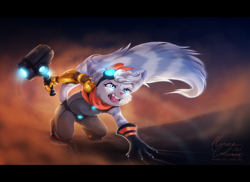Size: 2900x2116 | Tagged: safe, artist:flora-tea, rivet (r&c), fictional species, lombax, mammal, anthro, ratchet & clank, 2021, blue eyes, boots, cheek fluff, claws, clothes, commission, ears, eyebrows, eyelashes, fangs, female, fluff, gloves, goggles, goggles on head, hair, hammer, high res, open mouth, pink nose, prosthetic arm, prosthetics, scarf, sharp teeth, shoes, solo, solo female, tail, tail fluff, teeth, thighs, tongue, weapon